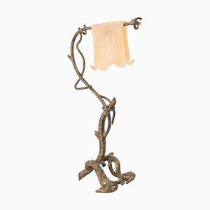 Tischlampe aus Bronze & Muranoglas im Art Deco-Stil, 1970er