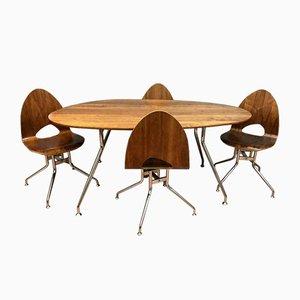 Chaises de Salon en Métal et Bois et Table, 1960s