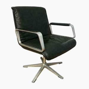 Sedia da scrivania in alluminio e pelle di Wilkhan Delta, anni '60