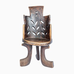 Ethiopian Three-Legged Coptic Chair with Carvings, 1950s