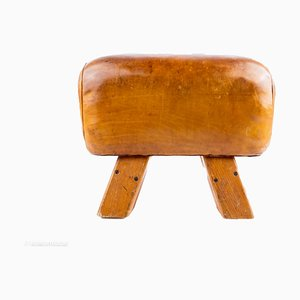 Leather & Wood Gymnastics Pommel Horse, 1930s
