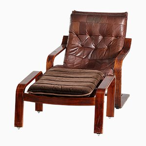 Vintage Danish Leather Armchair and Ottoman, 1970s