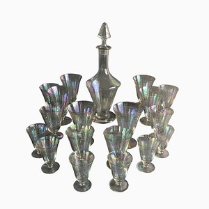 Austrian Iridescent Glass Stemware Set from Lobmayer, 1920s