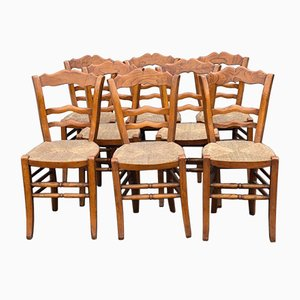 French Elm Kitchen Dining Chairs, 1850s, Set of 8