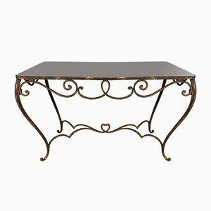 Mesa de comedor francesa Art Déco vintage de vidrio coloreado y hierro forjado