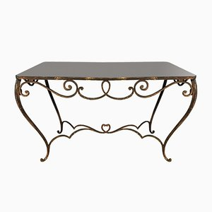 Vintage Art Deco French Colored Glass and Wrought Iron Dining Table