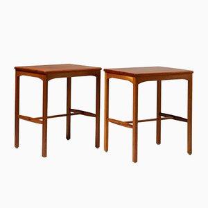Tables d'Appoint Modernistes en Acajou par Carl Malmsten, 1950s, Set de