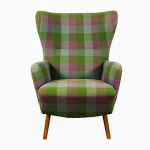 Green & Purple Checked Wingback Armchair, 1950s