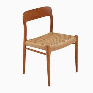Dänische Nr. 75 Esszimmerstühle von Niels Otto Møller für Mobelfabrik Horsens Denmark, 1960er, 6er Set