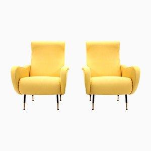 Gelbe italienische Mid-Century Sessel, 1950er, 2er Set