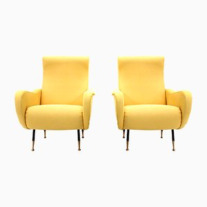 Mid-Century Italian Yellow Armchairs, 1950s, Set of 2