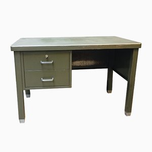 Industrial Belgian Dark Green Metal Desk from Robberechts, 1950s