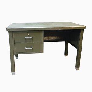 Industrieller belgischer Schreibtisch aus dunkelgrünem Metall von Robberechts, 1950er