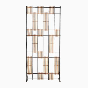 Mid-Century Metal and Wicker Room Divider, 1960s