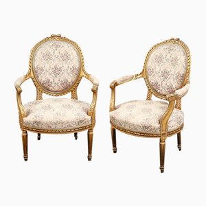 Antique Gustavian Armchairs, 1850s, Set of 2