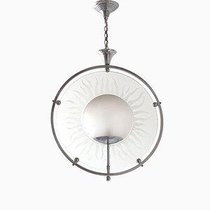 Lámpara de araña francesa Art Déco de vidrio y cromo, años 20