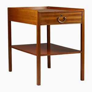 Modernist Model 914 Brass and Mahogany Nightstand by Josef Frank for Svenskt Tenn, 1950s