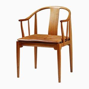 Dänischer China Stuhl aus Leder & Mahagoni von Hans J. Wegner, 1980er