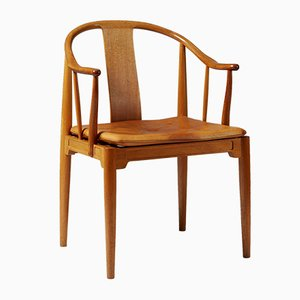 Danish Leather and Mahogany China Chair by Hans J. Wegner, 1980s