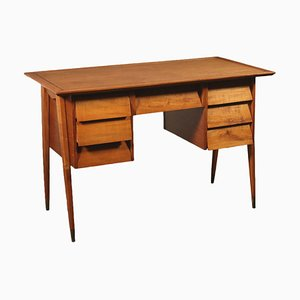 Mid-Century Beech and Brass Desk, 1950s