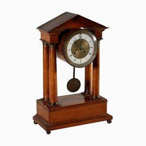 Horloge Charles X en Bronze et Merisier, 19ème Siècle