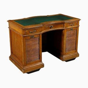 Antiker italienischer Schreibtisch im Jugendstil aus Messing und Kunstleder