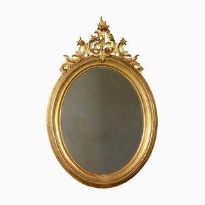 Großer antiker elliptischer italienischer Spiegel mit vergoldetem Rahmen, 1900er