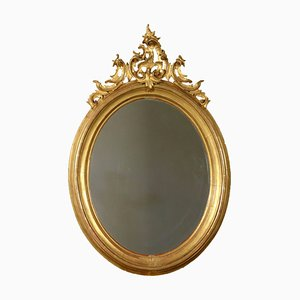 Large Antique Italian Elliptical Gilded Mirror, 1900s