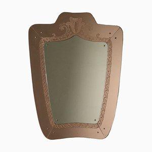 Italienischer Mid-Century Spiegel mit Holzrahmen