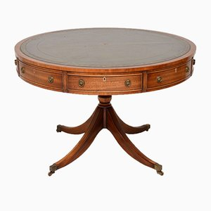 Antique Style Mahogany & Leather Drum Centre Table, 1930s