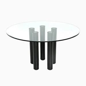 Brentano Glass Round Dining Table by Emaf Progetti for Zanotta, 1980s