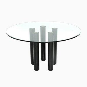 Mesa de comedor Brentano redonda de vidrio de Emaf Progetti para Zanotta, años 80