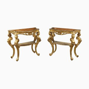 18th Century Italian Gilded Console Tables, Set of 2