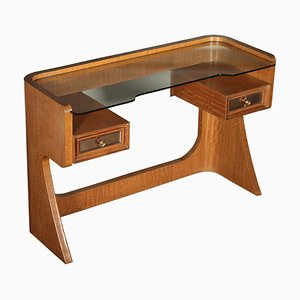 Mid-Century Italian Glass, Mahogany, and Veneer Dressing Table