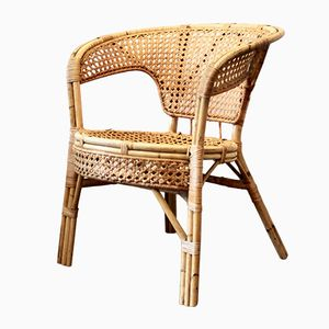 Vintage French Rattan Armchair, 1970s