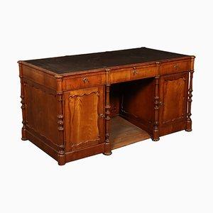 Antiker italienischer Schreibtisch aus Kirschholz mit Lederauflage