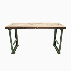 Großer industrieller deutscher Werktisch aus Stahl & Holz, 1930er
