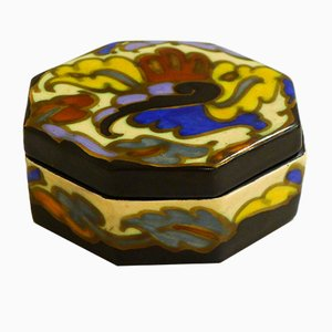Art Deco Belgian Glazed Earthenware Box from Bergen, 1930s