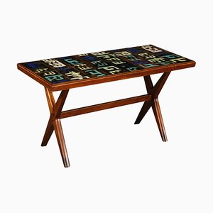 Mid-Century Italian Copper Tiled Mahogany Coffee Table, 1950s