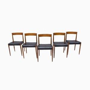Chaises de Salon Scandinaves en Cuir et Teck, 1960s, Set de 5