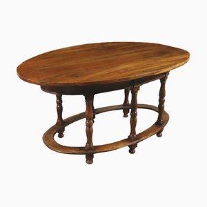 Mesa de comedor elíptica antigua italiana de nogal