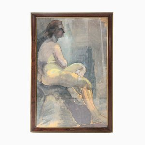 Seated Woman Painting by Painter Noemi Frascio, 1960s
