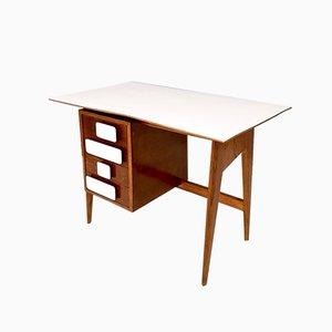 Italienischer Mid-Century Schreibtisch aus Eiche & Resopal im Stile von Gio Ponti, 1950er