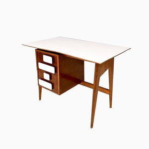 Mid-Century Italian Oak and Formica Desk in the Style of Gio Ponti, 1950s