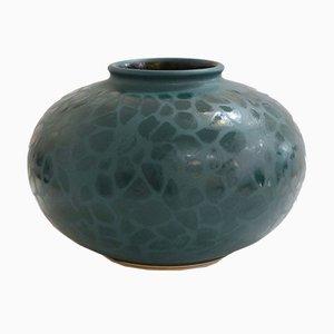 Grüne deutsche Mid-Century Steingutvase von Bay Keramik