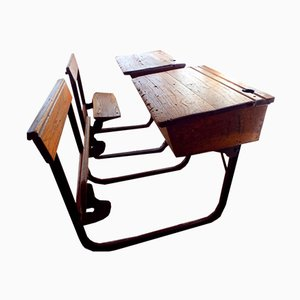 Vintage Industrial Oak School Desk with Folding Bench from Kingfisher, 1950s