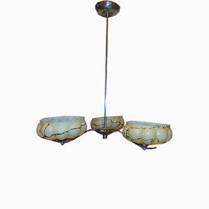 Lámpara de araña Art Déco de hierro y níquel, años 40