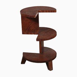 Mesa de centro italiana Art Déco vintage de chapa de nogal