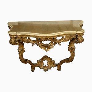 Consola italiana antigua de madera y alabastro