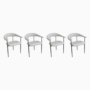 P40 Esszimmerstühle aus weißem Leder von Vegni & Gualirotti für Fasem, 1980er, 4er Set
